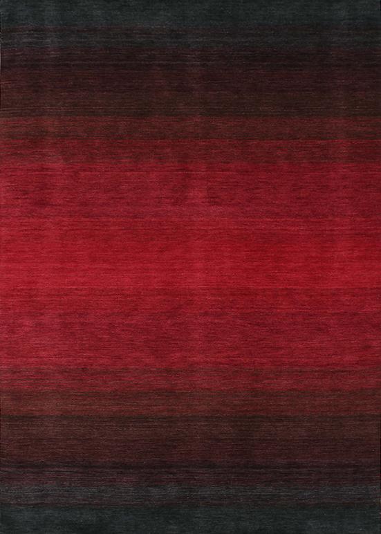 Laagpolig vloerkleed Panorama black/red